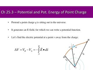 Ch 25.3 – Potential and Pot. Energy of Point Charge
