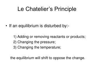 Le Chatelier�s Principle