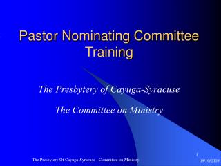 Pastor Nominating Committee Training
