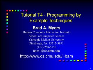 Tutorial T4 - Programming by Example Techniques
