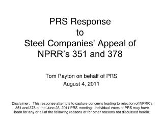 PRS Response  to Steel Companies' Appeal of NPRR's 351 and 378