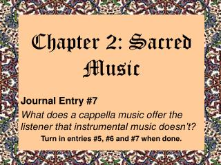 Chapter 2: Sacred Music