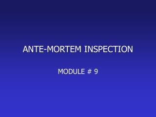 ANTE-MORTEM INSPECTION