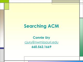 Searching ACM