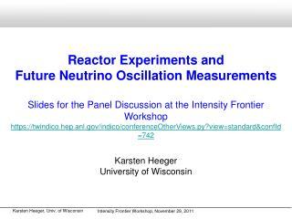 Reactor Experiments and  Future Neutrino Oscillation Measurements