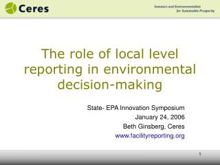 The role of local level reporting in environmental decision-making
