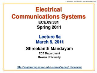 Electrical  Communications Systems ECE.09.331 Spring 2011