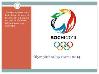 Olympic hockey teams 2014