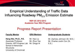 Empirical Understanding of Traffic Data Influencing Roadway PM 2.5  Emission Estimate