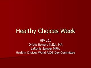 Healthy Choices Week