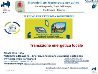 Alessandro Rossi ANCI Emilia Romagna – Energia, innovazione e sviluppo sostenibile
