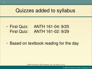Quizzes added to syllabus