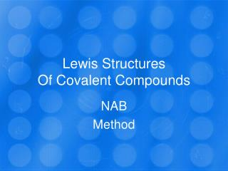 Lewis Structures Of Covalent Compounds