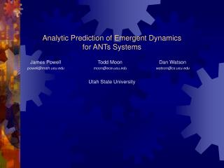 Analytic Prediction of Emergent Dynamics for ANTs Systems