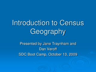 Introduction to Census Geography