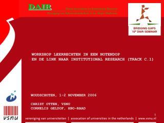 WORKSHOP LEERRECHTEN IN EEN NOTENDOP  EN DE LINK NAAR INSTITUTIONAL RESEARCH (TRACK C.1)