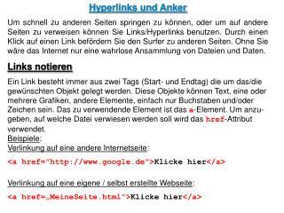 Hyperlinks und Anker