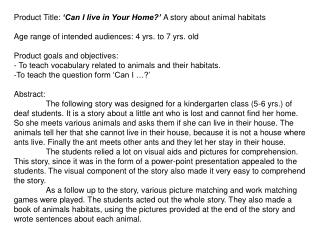 Product Title: �Can I live in Your Home?� A story about animal habitats