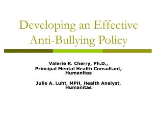 Developing an Effective Anti-Bullying Policy