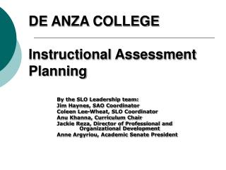DE ANZA COLLEGE  Instructional Assessment Planning