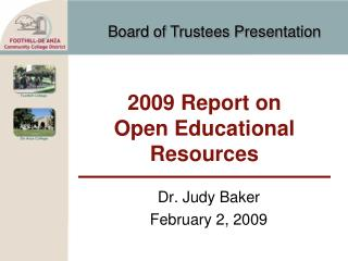 2009 Report on Open Educational Resources