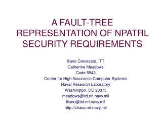 A FAULT-TREE REPRESENTATION OF NPATRL SECURITY REQUIREMENTS