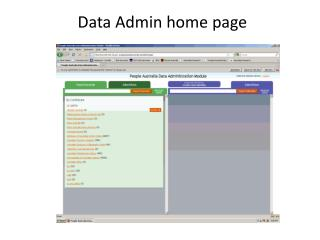 Data Admin home page