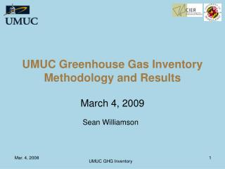 UMUC Greenhouse Gas Inventory Methodology and Results