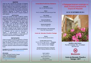 A Pedagogia Social em construção no Brasil: encontro internacional de Grupos de Pesquisas
