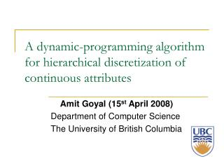 A dynamic-programming algorithm for hierarchical discretization of continuous attributes