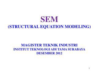 SEM (STRUCTURAL EQUATION MODELING) MAGISTER TEKNIK INDUSTRI INSTITUT TEKNOLOGI ADI TAMA SURABAYA