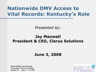 Nationwide DMV Access to Vital Records: Kentucky's Role