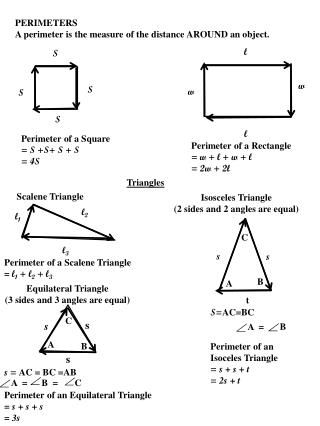PERIMETERS A perimeter is the measure of the distance AROUND an object.