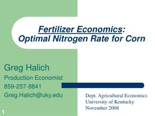 Fertilizer Economics : Optimal Nitrogen Rate for Corn