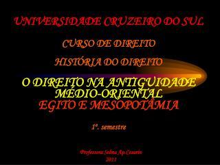 UNIVERSIDADE CRUZEIRO DO SUL   CURSO DE DIREITO  HIST RIA DO DIREITO  O DIREITO NA ANTIGUIDADE M DIO-ORIENTAL EGITO E ME