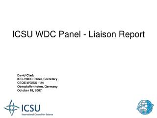ICSU WDC Panel - Liaison Report