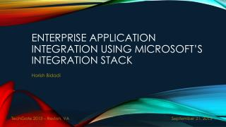Enterprise Application Integration  using Microsoft's integration  stack