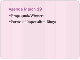 Agenda March 19