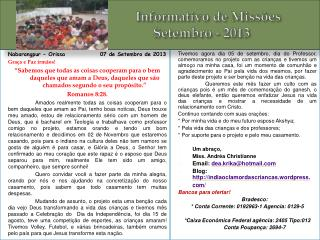 Informativo de Missões                          Setembro - 2013