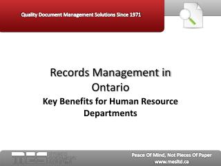 Records Management in Ontario - Key Benefits for Human Resou