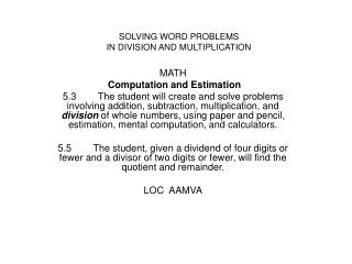 MATH  Computation and Estimation