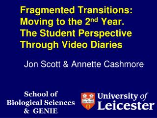Fragmented Transitions: Moving to the 2 nd  Year.  The  Student Perspective Through Video Diaries