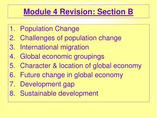 Module 4 Revision: Section B