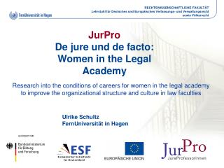 JurPro De jure und de facto:  Women in the Legal Academy