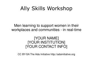 Ally Skills Workshop