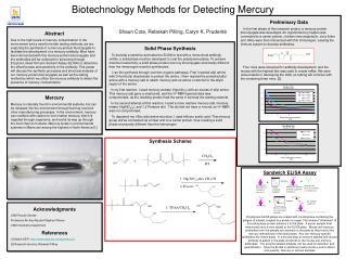 Biotechnology Methods for Detecting Mercury Shaun Cote, Rebekah Pilling, Caryn K. Prudent é