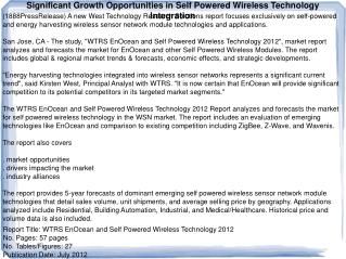 Significant Growth Opportunities in Self Powered Wireless Te