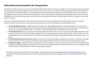 Safety Measures During Movie Set Transportation