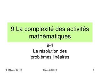9 La complexité des activités mathématiques