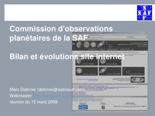 Commission d'observations plan�taires de la SAF Bilan et �volutions site internet